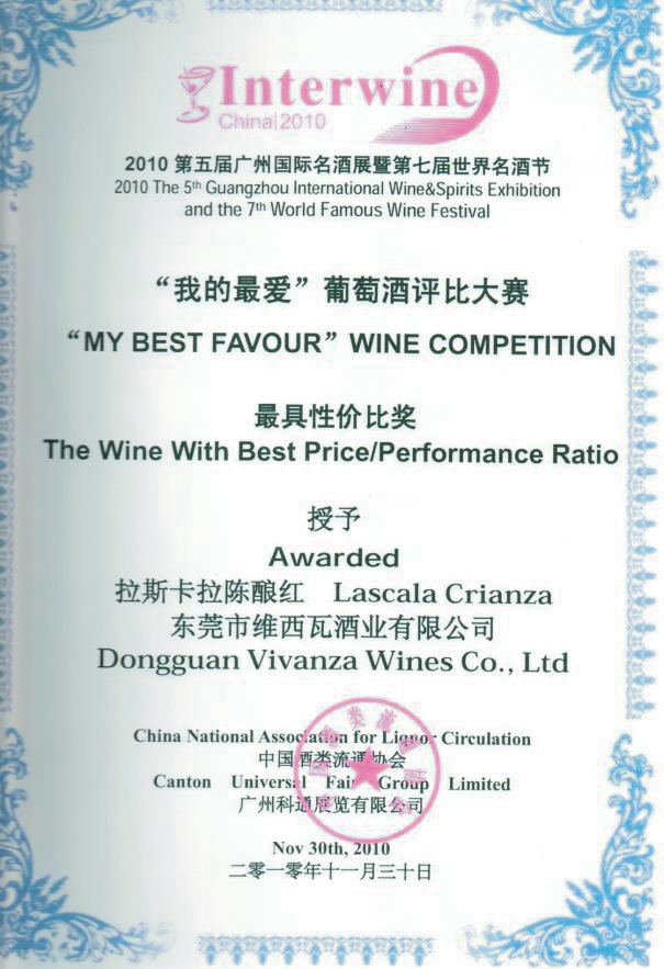 "Diploma de laureado de la competencia internacional ""MY BEST FAVOUR"" the wine with best price/perfomance ratio (Interwine China 2010) para el vino Lascala Crianza"