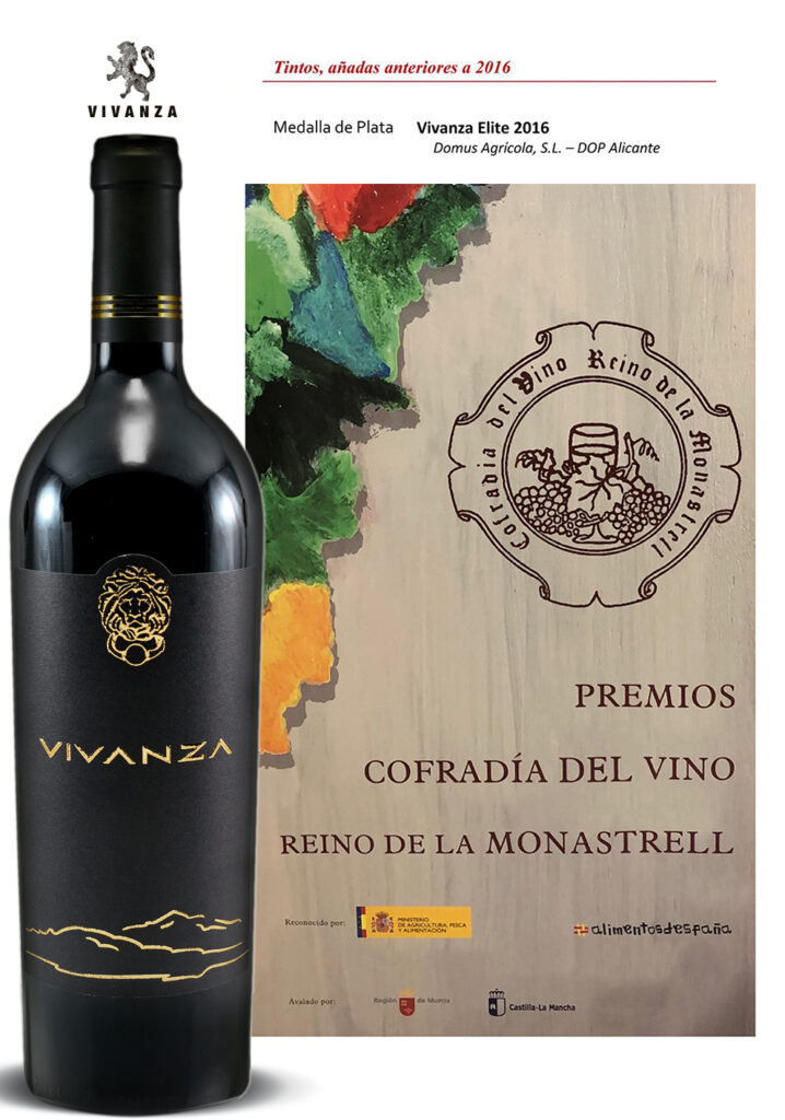 Medalla de Plata. Premios COFRADIA DEL VINO  REINO DE LA  MONASTRELL 2019 for dry red wine (D.O.P.) VIVANZA