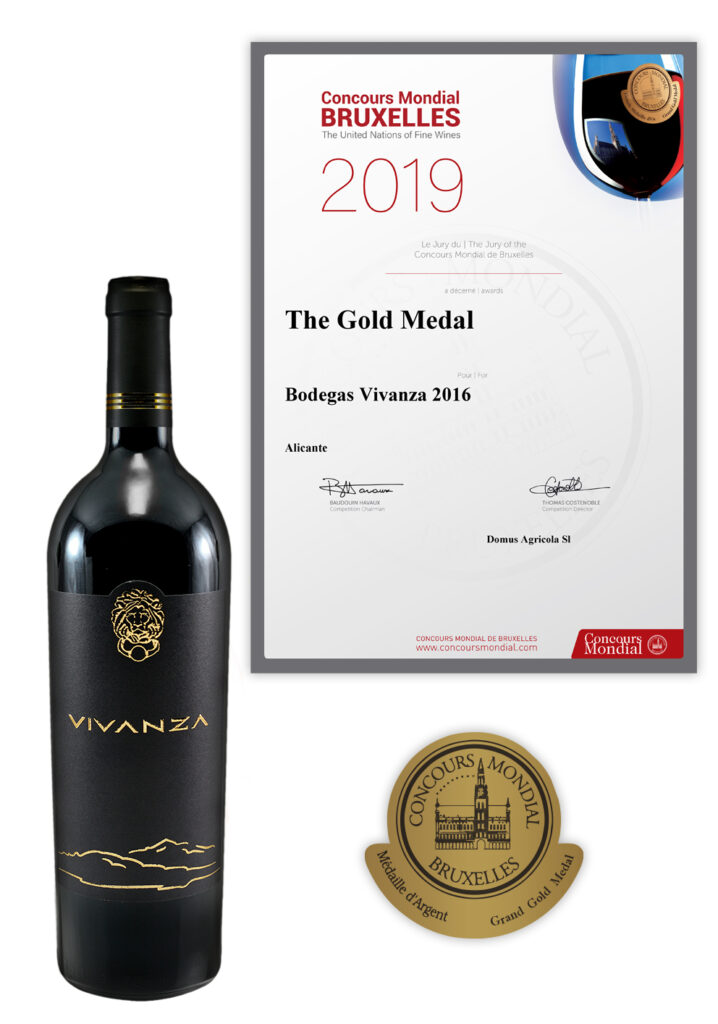 The Gold Medal Concours Mondial Bruxelles 2019 for dry red wine (D.O.P.) VIVANZA
