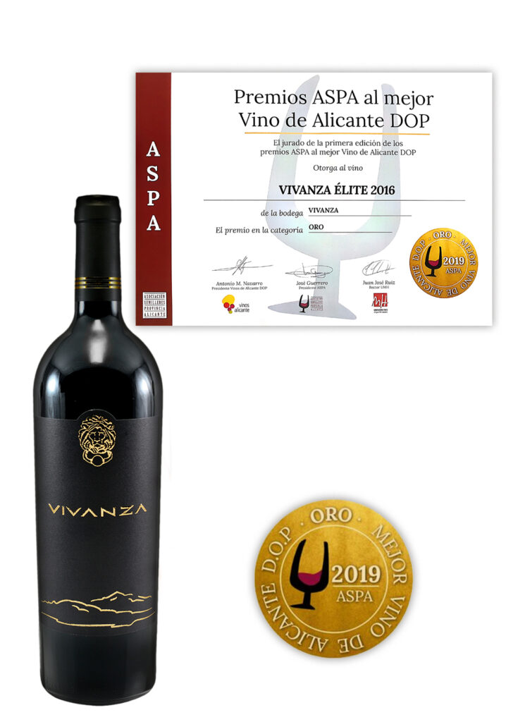 The Gold Medal. Premios ASPA al mejor vino de Alicante DOP 2019 for dry red wine (D.O.P.) VIVANZA